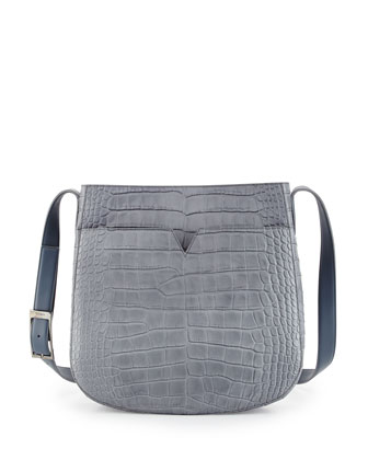 Crocodile-Embossed Medium Messenger Bag, Chambray