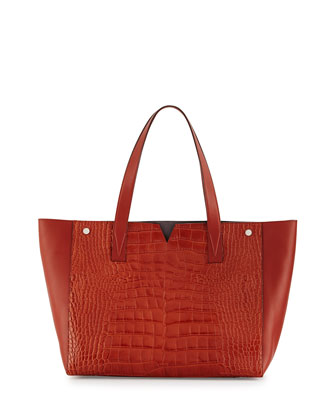 Crocodile-Embossed Leather Tote Bag, Whiskey