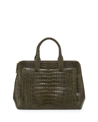 Large Modern Double-Zip Crocodile Tote Bag, Green Matte