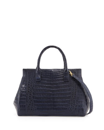 Loop Crocodile Medium Satchel Bag, Navy
