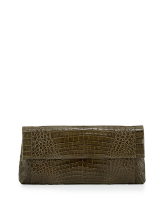 Gotham Matte Crocodile Flap Clutch Bag, Army Green