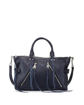 Moto Leather Satchel Bag, Moon