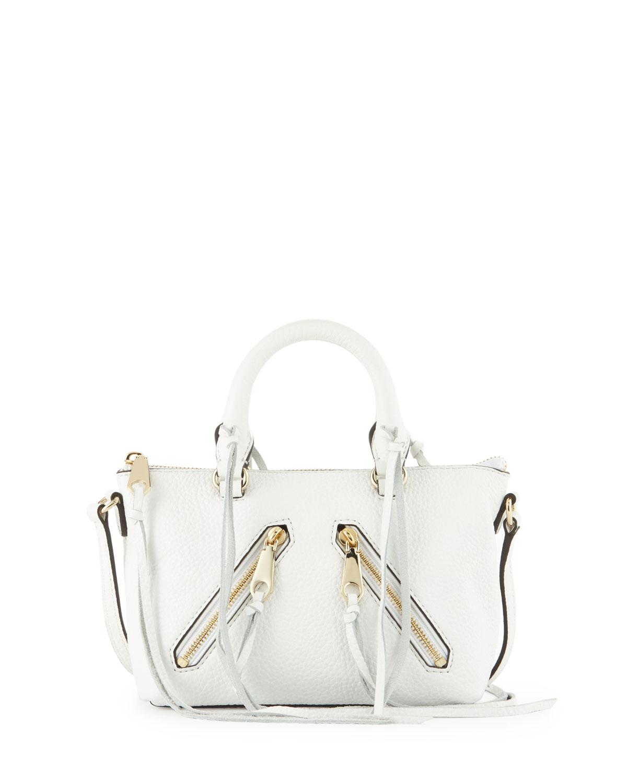 Micro Moto Satchel Bag, White - Rebecca Minkoff