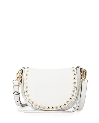 Pebbled Leather Studded Saddle Bag, White