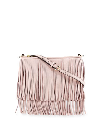Finn Leather Fringe Crossbody Bag, Baby Pink