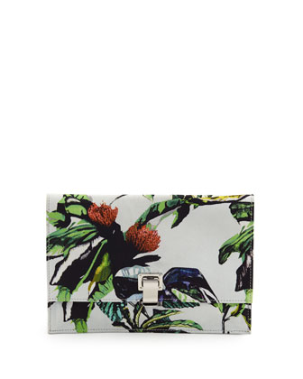 Floral-Print Small Satin Lunch Bag, Ecru