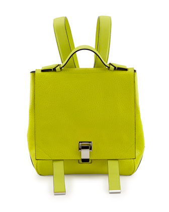 Courier Small Calfskin Backpack, Sulfur