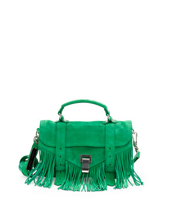PS1 Tiny Fringe Suede Satchel Bag, Aloe