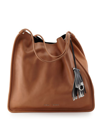 Large Soft Calfskin Tote Bag, Dune
