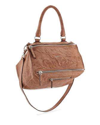 Pandora Medium Sheepskin Satchel Bag, Medium Brown