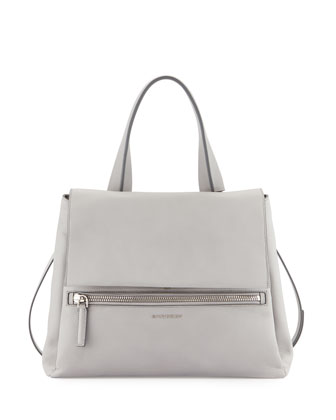 Pandora Pure Medium Calf Leather Satchel Bag, Gray