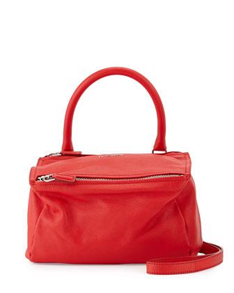 Pandora Small Goatskin Satchel Bag, Medium Red
