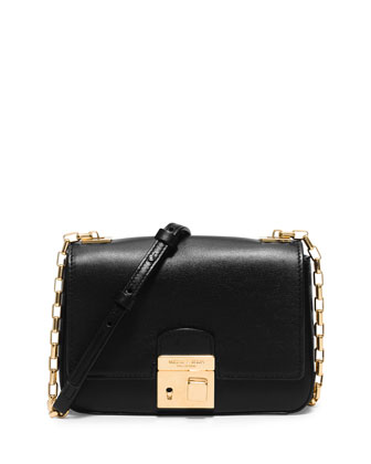 Gia Small Chain-Strap Flap Bag, Black
