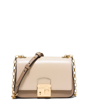 Gia Small Chain-Strap Flap Bag, Dune