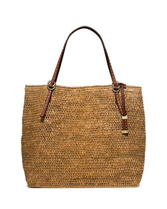 Santorini Large Raffia Tote Bag, Luggage