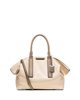 Lexi Large East-West Satchel Bag, Vanilla