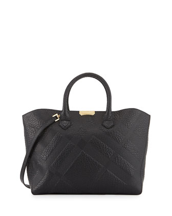 Dewsbury Grain Check Satchel Bag, Black