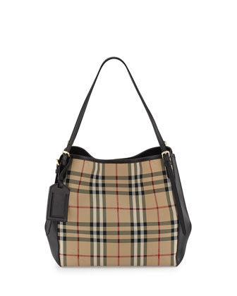 Small Canter in Horseferry Check and Leather Hobo Bag, Black
