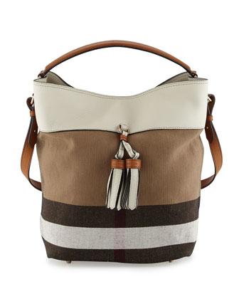 Ashby Medium Grainy Canvas Check Bucket Bag, White