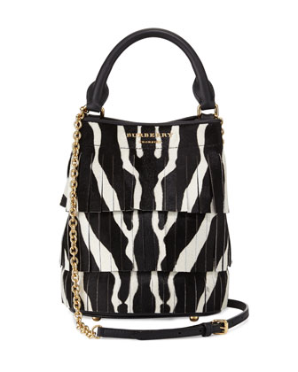Prorsum Animal-Print Small Bucket Bag W/Fringe, Black