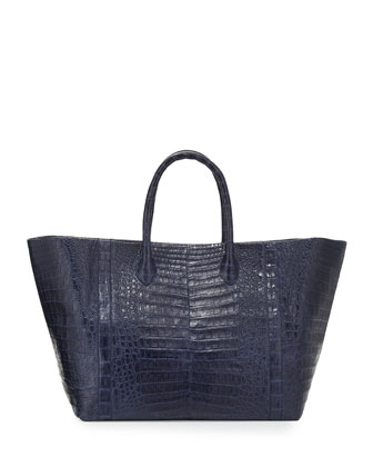 Custom Crocodile Large Convertible Tote Bag, Navy Matte