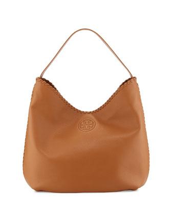 Marion Leather Hobo Bag, Bark
