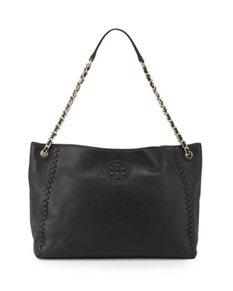 Marion Chain-Strap Slouchy Tote Bag, Black