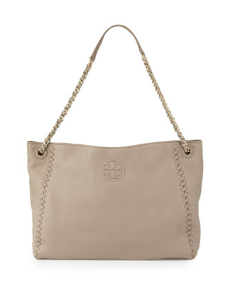 Marion Chain-Strap Slouchy Tote Bag, French Gray