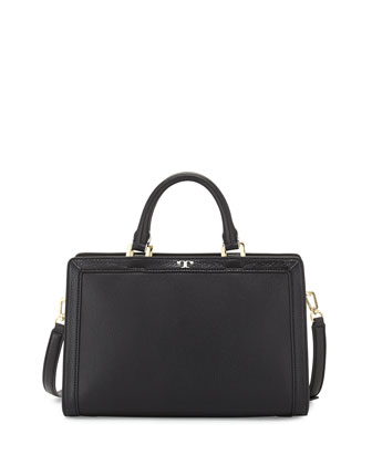 Jessica Shrunken Leather Satchel Bag, Black/New Ivory
