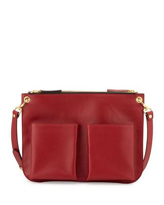 Bandoleer Front-Pocket Shoulder Bag, Red