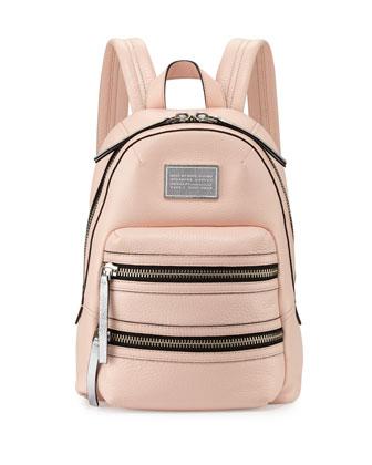 Domo Biker Leather Backpack, Pearl Blush