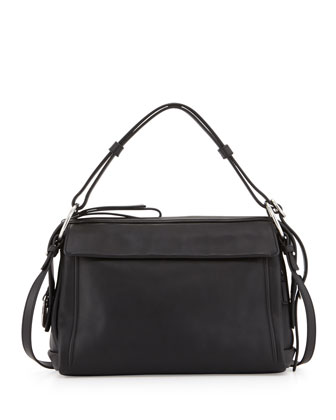 Prism 34 Leather Shoulder Bag, Black