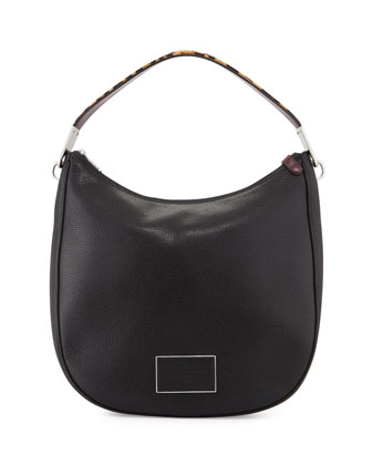 Ligero Leopard-Print-Strap Hobo Bag, Black/Multi
