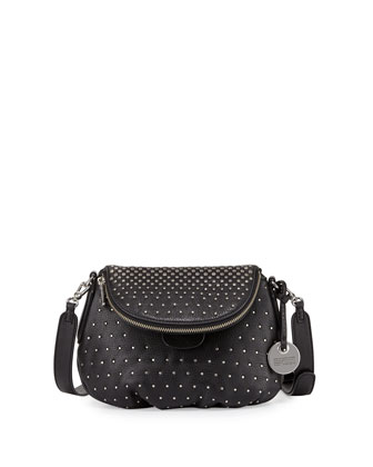 New Q Degrade Studded Mini Natasha Bag, Black