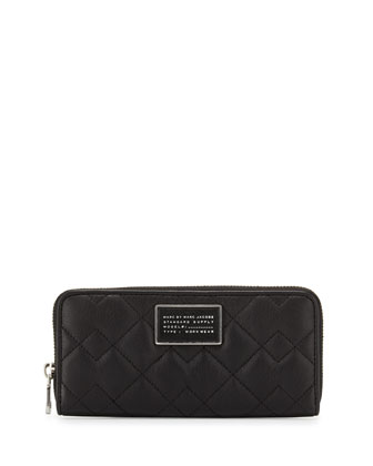 New Crosby Quilted Slim Zip-Around Wallet, Black