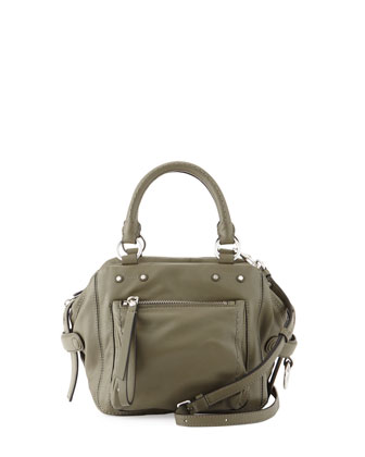 Cube 21 Lamb Leather Shoulder Bag, Military Green
