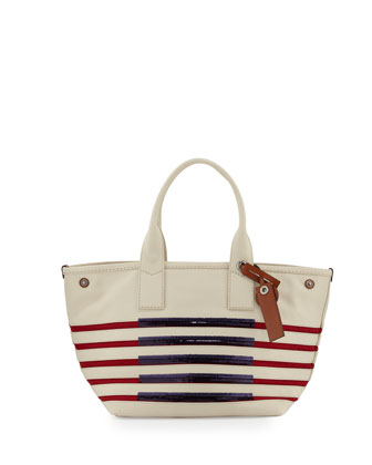 St. Tropez Striped Beach Tote Bag, Ecru/Breton Red