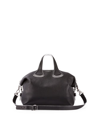 Nightingale Medium Grain Bicolor Satchel Bag, Black/White