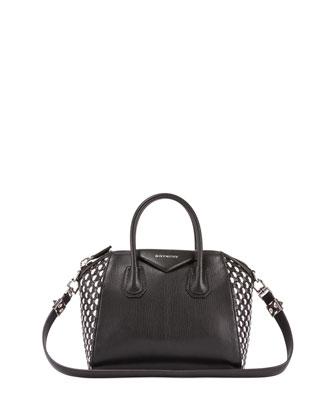 Antigona Small Woven Satchel Bag, Black/White