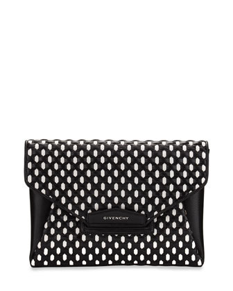 Antigona Medium Woven Clutch Bag, Black/White