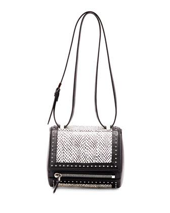 Pandora Box Mini Snakeskin Shoulder Bag, Black/White