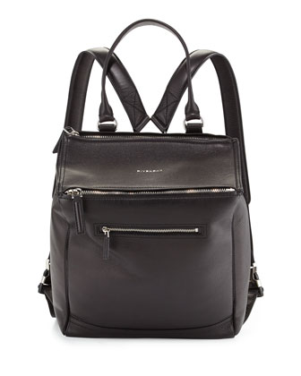 Pandora Calfskin Leather Backpack, Black