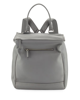 Pandora Calfskin Leather Backpack, Pearl Gray