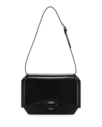 Bow-Cut Leather Shoulder Bag, Black