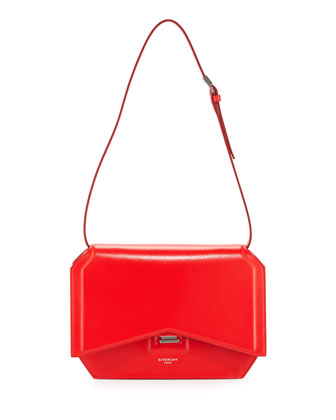 Bow-Cut Leather Shoulder Bag, Red