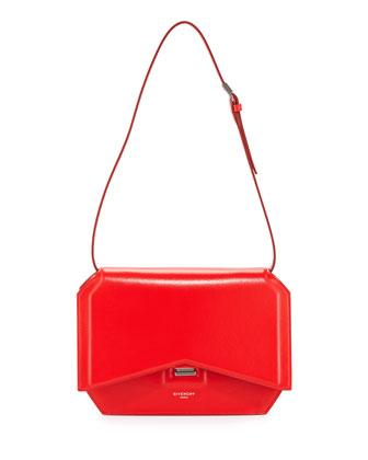 Bow-Cut Leather Shoulder Bag, Red