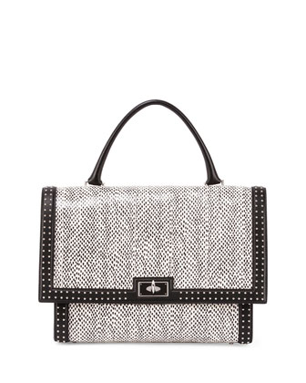 Shark Medium Snakeskin Satchel Bag, Black/White