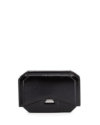 Glossy Bow-Cut Clutch Bag, Black