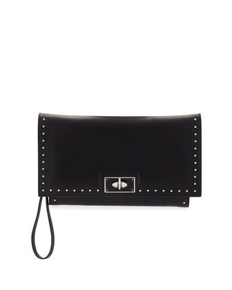 Shark Stud Calfskin Wristlet Bag, Black