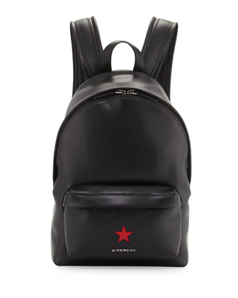 Calfskin Star Backpack, Black/Red